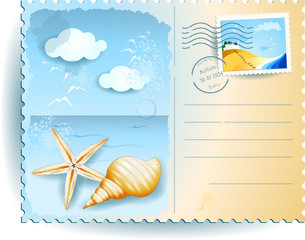 Holidays on the beach, postcard