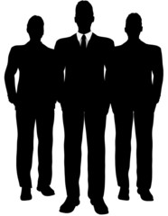 drei Businessmänner als Silhouette