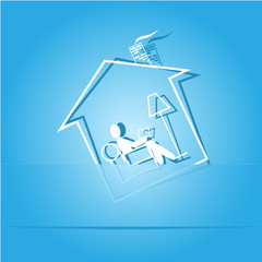 Home reading. Paper sticker. Vector  illustration.