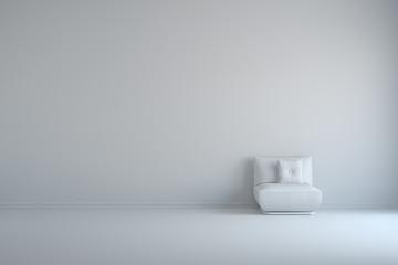 Sessel mit Kissen in einem weißen Raum