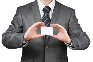 businessman holds business card