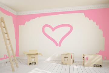 Rosa Herz bei Renovierung an Wand gemalt