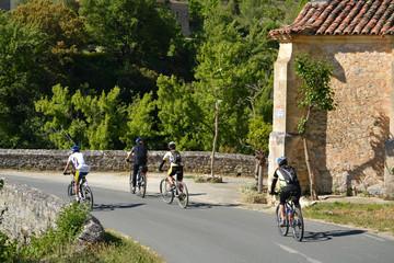Grupo de ciclistas de ruta por el campo
