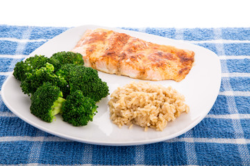 Salmon Broccoli and Brown Rice
