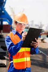 Busy dock worker