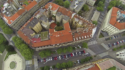 Aerial view on streets of Zagreb