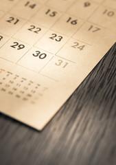 calendar on desk.