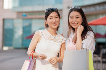 Joyful Korean shoppers