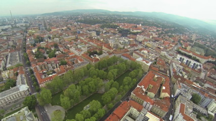 Aerial view on Zagreb with Zrinjevac park in front.