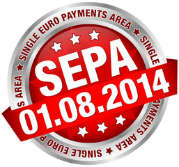 "Button Banner ""SEPA"" August rot/silber"