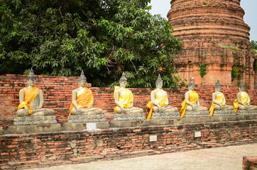 Row of Buddha Statue in Ayutthaya, Thailand