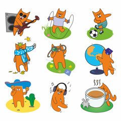 active set of cheerful red cats