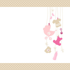 Baby Card Hanging Symbols Girl Dots Beige