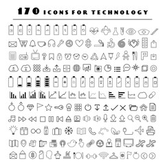 line technology icons set