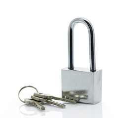 Padlock with three keys on white background