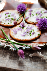 Crackers with chives