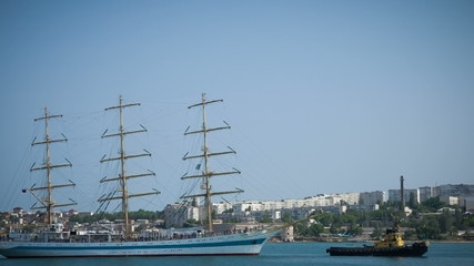 Sailing ship in the bay