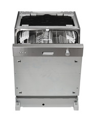Built-in dishwasher on white