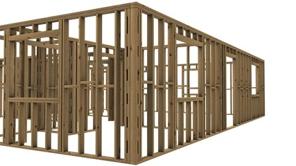 Wooden house walls Structural work on white background