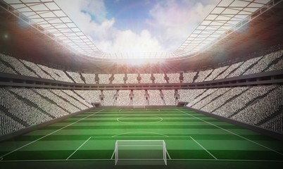 Football stadium with fans in white