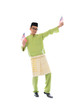 cheerful malay male with malaysian flag full body isolated on wh