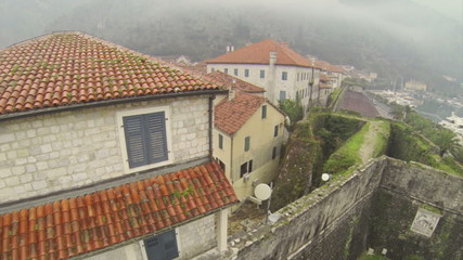 Aerial view on picturesque town Kotor in Montenegro.