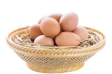 brown chicken eggs in basket