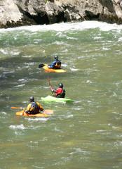 Canoas en el río Noguera Pallaresa, Lleida, España