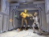 Guerrero futurista disparándole a un monstruo