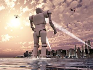 Robot gigante llegando por el mar a una ciudad