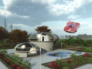 Casa suburbana futurista y coche aéreo