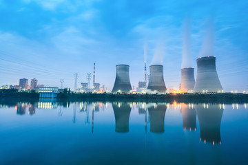 thermal power plant in nightfall