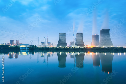 thermal power plant in nightfall - 66094257