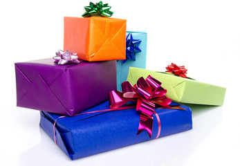 Colorful gift boxes with beautiful bows