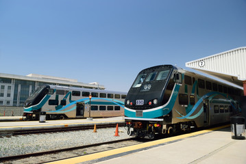 Modern double-decker train at the station in Los Angeles. USA