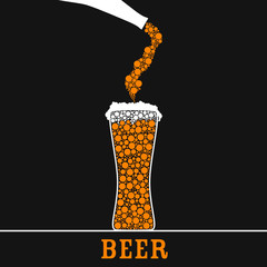 beer in glass color vector