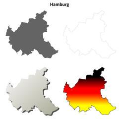 Hamburg blank outline map set