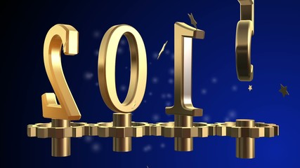 2015 text 3D new year gold metal animation