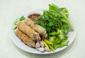 Vietnamese summer roll or Nam Neaung