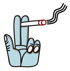 Mano sostiene un cigarrillo humeante