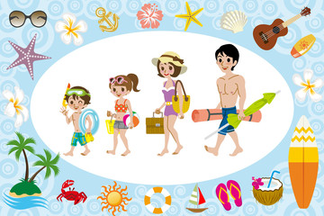 Swimwear family and sea icon