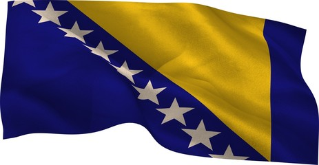 Digitally generated Bosnian national flag waving