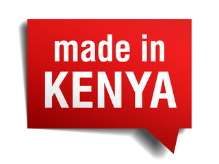 made in Kenya red 3d realistic speech bubble
