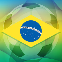 Brazil flag and football ball, flat design