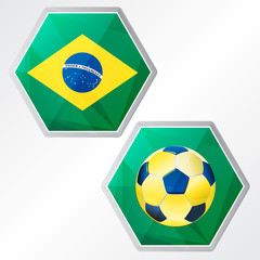 Brazilian flag and soccer ball, two colors hexagons labels