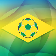 football ball in Brazil flag, flat design