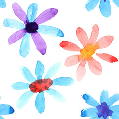 Watercolor flowers seamless