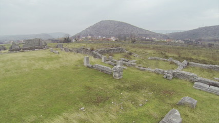Flying above Doclea ruins in Montenegro.