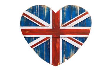 britische Flagge auf einem Liebesherz aus Holz