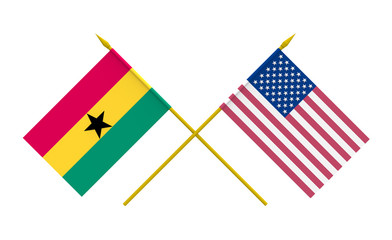 Flags, Ghana and USA